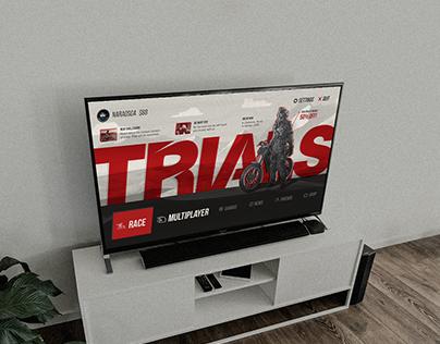 Trials racing game menu
