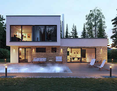 Modern house - 3D visualizations and animation