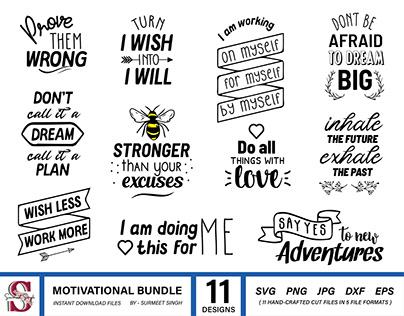 Motivational Quotes Svg Bundle, Silhouette Cut Files