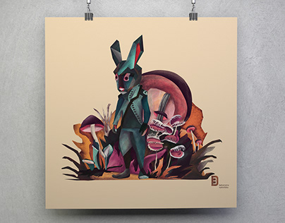 Rabbit in the strange forest