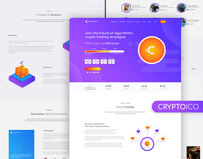Crypto ICO - Cryptocurrency Website Landing Page