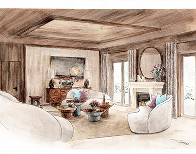 watercolour, scheme for a guest sitting room