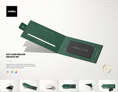 Gift Card Holder Mockup Set