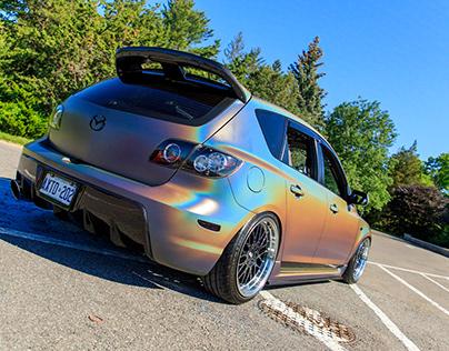 Matte colour shift wrapped Mazdaspeed3 Wagon