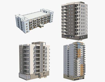 4 Apartment Buildings Set_9