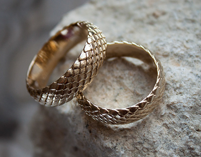 Dragon wedding rings