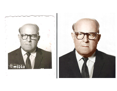 Restoration and colorisation of a textured photograph