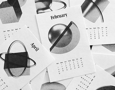 3D artwork Risograph Calendar