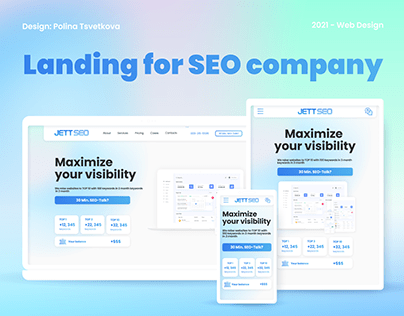 Landing page for SEO company