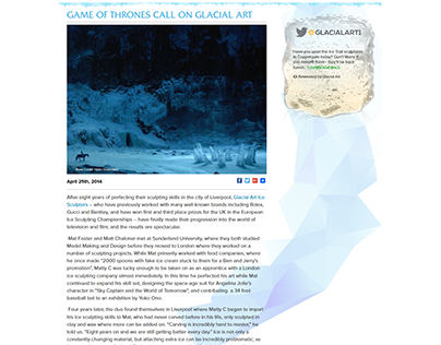 Game of Thrones calls on Glacial Art