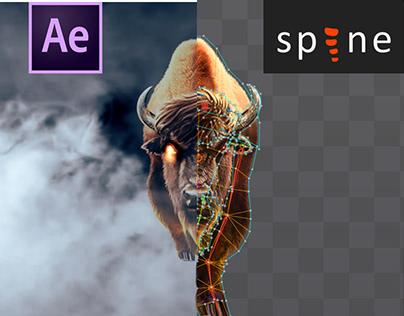 Spine 2d & After Effects (Bull Run)