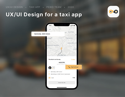 UX/UI Design and logo for a taxi app