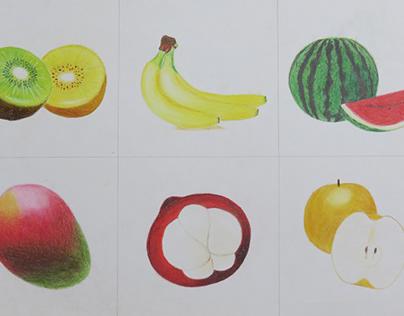 色鉛筆 水果