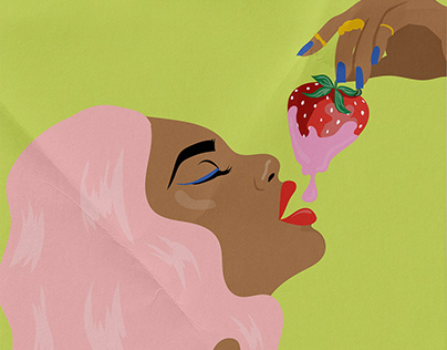 Woman eating a Strawberry illustration