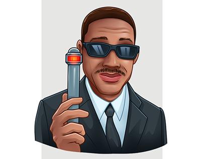 Man in black telegram stickers