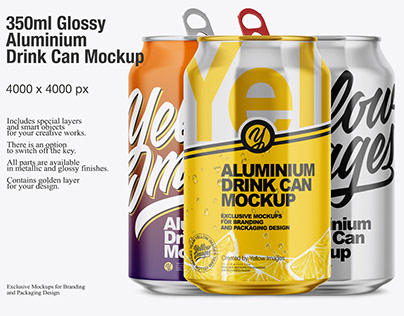 350ml Aluminium Drink Can Mockup