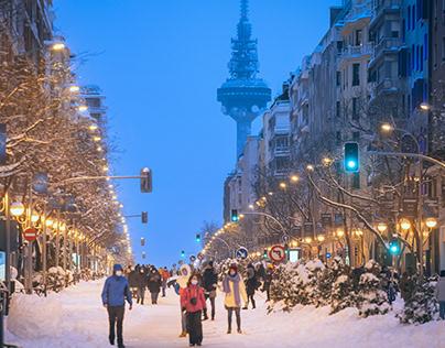 Una nevada histórica en Madrid