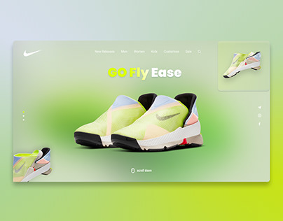Web concept with new Nike Go Fly Ease Shoes