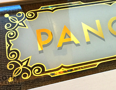 Reverse Glass gilding + mother of pearl