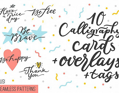FREE Calligraphy: 10 overlays, cards and tags