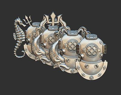 Diver badges.3d models for CNC