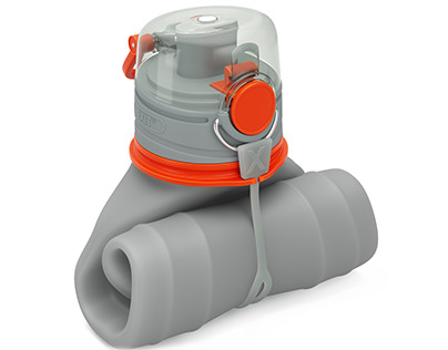Silicone water bottle (3d modeling and rendering)