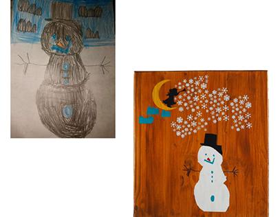 kindertekening schilderen op hout