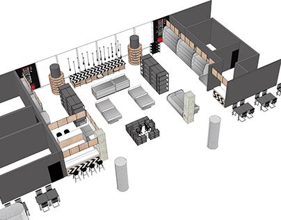 Concept of Globus Gourmet foodshop at Sheremetievo