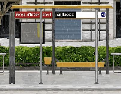 Pixel rain in Barcelona city