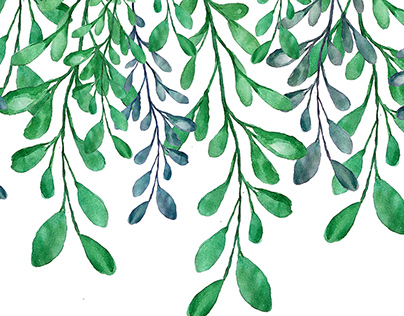 Watercolor leaves and branches