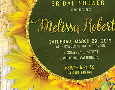 Sunflower theme Invitation Cards