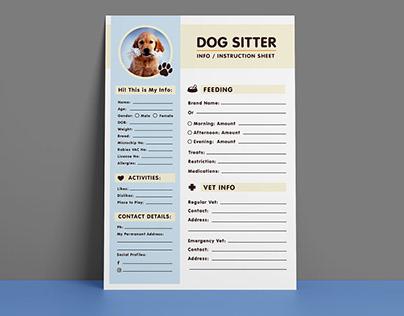 Free Dog Sitter Instruction / Information Sheet Design