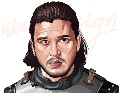 Jon Snow vector art portrait -game of thrones