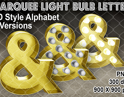 3D Marquee Light Bulb Letter Metallic Gold 3 Versions