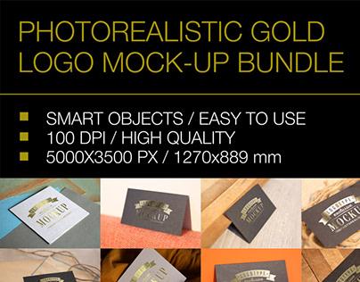 Gold Logo Mockup Bundle - 26 PSD
