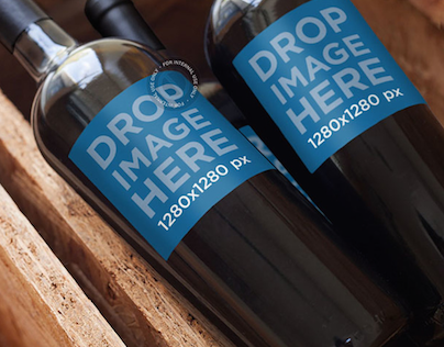 Mockup Featuring a Set of Wine Bottles in a Wine Crate