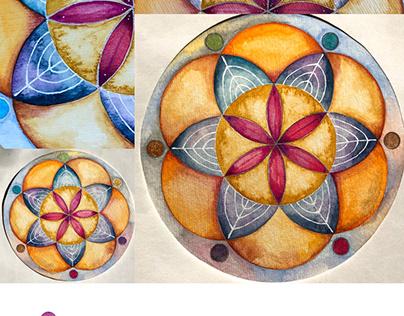 Hamsa Hand & Mandala original ART