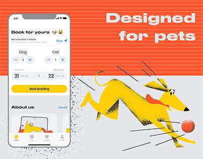Pet hotel app. UI/UX, Branding