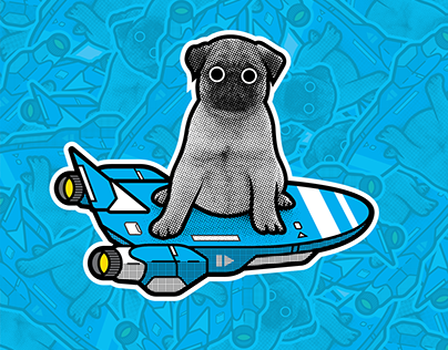 Pug + Hoverboard WMC Fest 7 Sticker