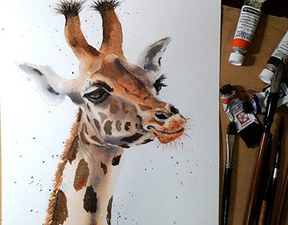 Watercolor Giraffe painting