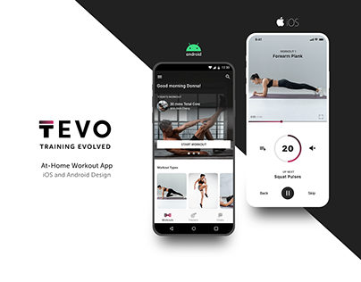 TEVO - At-Home Workout App | iOS & Android UI Design