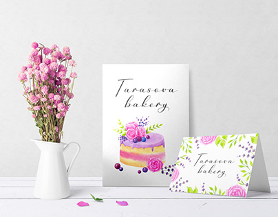 Watercolor cards for bakery