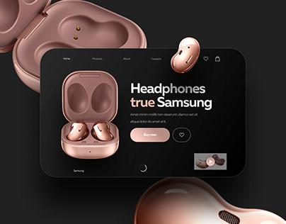 The first screen of website Headphones true Samsung