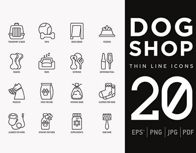 Dog Shop | 20 Thin Line Icons Set
