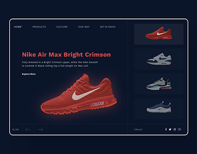 Sneakers landing page visual design UI/UX