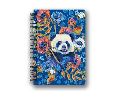 Watercolor Floral panda design