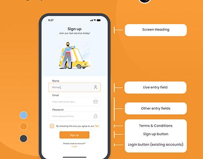 Sign up screen UI design