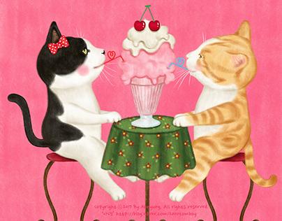 cats eating strawberry shake