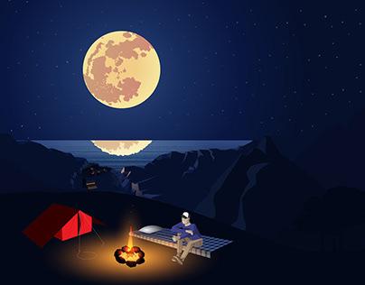 Campfire in moonlight. A vector illustration.