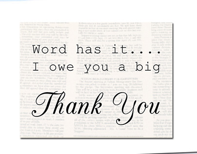 Newspaper Print Thank You Card
